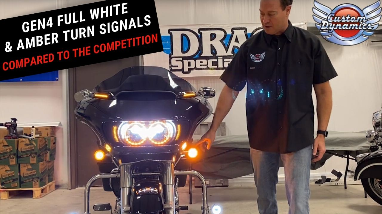GEN4 Amber & Full White LED Turn Signals for H-D Motorcycles - Comparison