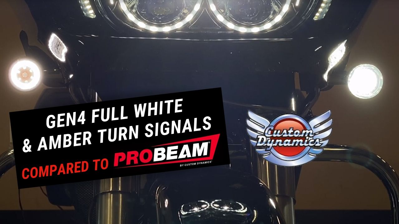 Compare: ProBEAM Dynamic Ringz & GEN4 Amber & Full White LED Turn Signals for H-D Motorcycles