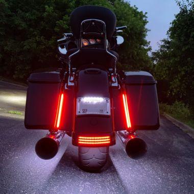"""Custom Dynamics 10/"""" Amber Red Plasma Rods Run Brake Turn for Harley Touring FLHX"""