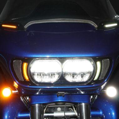 Green-L Chrome Front Fender Tip Orange Lens LED Light Fit For Harley Road Glide Ultra FLTRU 2016-2020 Electra Glide Ultra Limited Low FLHTKL 2009-2020