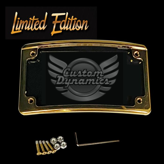 Custom Dynamics Limited Edition Gold Radius White LED License Plate Frame