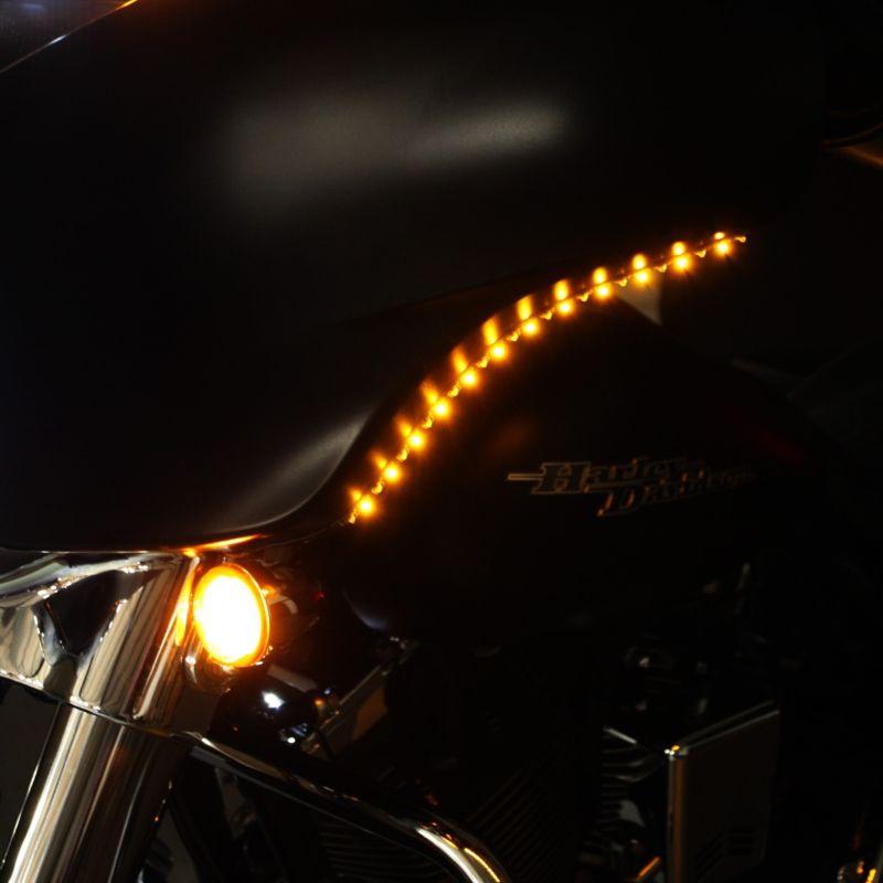 Bat Wingz™  Low Profile Amber/White Trim for 2006-2021 H-D™ Batwing Fairing