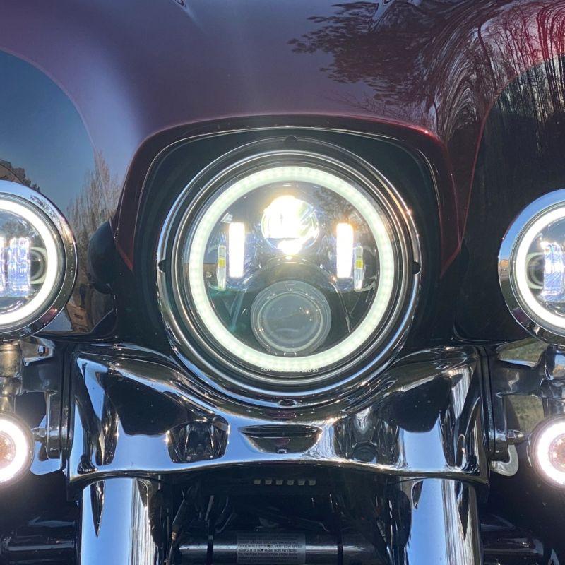 """Custom Dynamics® 7"""" White LED Halo Headlamp for 14-21 Harley-Davidson®"""