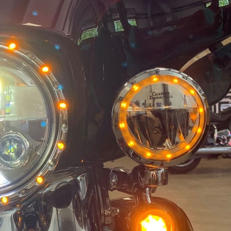 """TruBEAM® 4.5"""" Amber/White Halo Passing Lamps for H-D™ 96-05 Touring & 93-17 Heritage Softail Classic"""