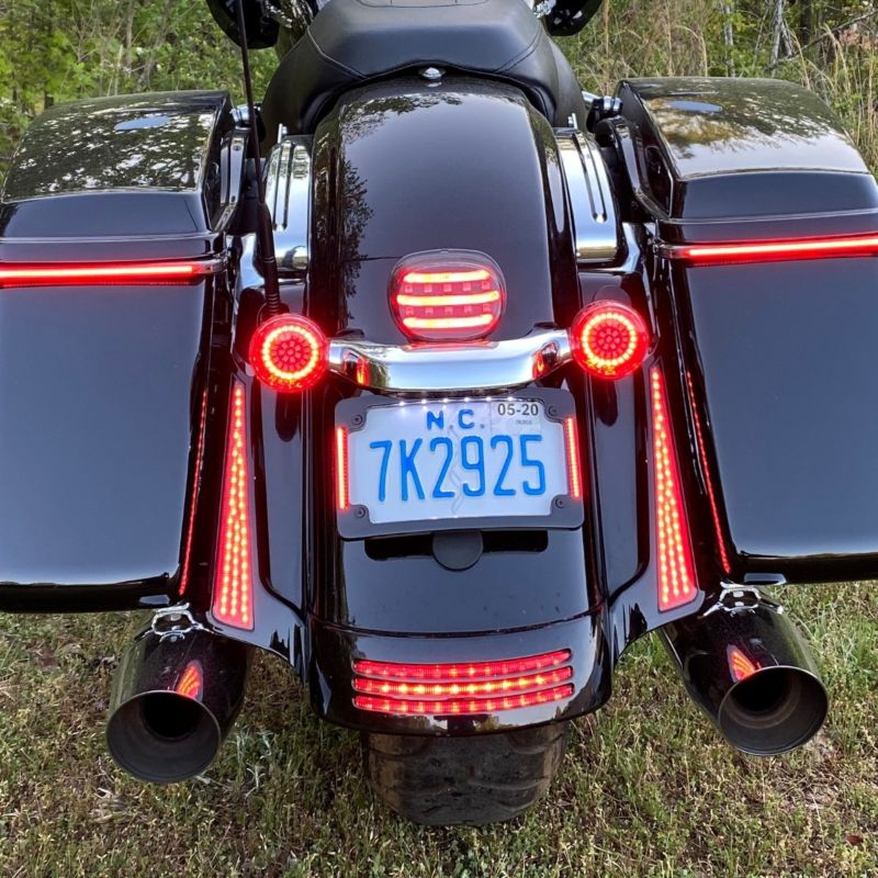Genesis® 4 Red Ring LED Bullet Style Motorcycle Turn Signals for H-D™