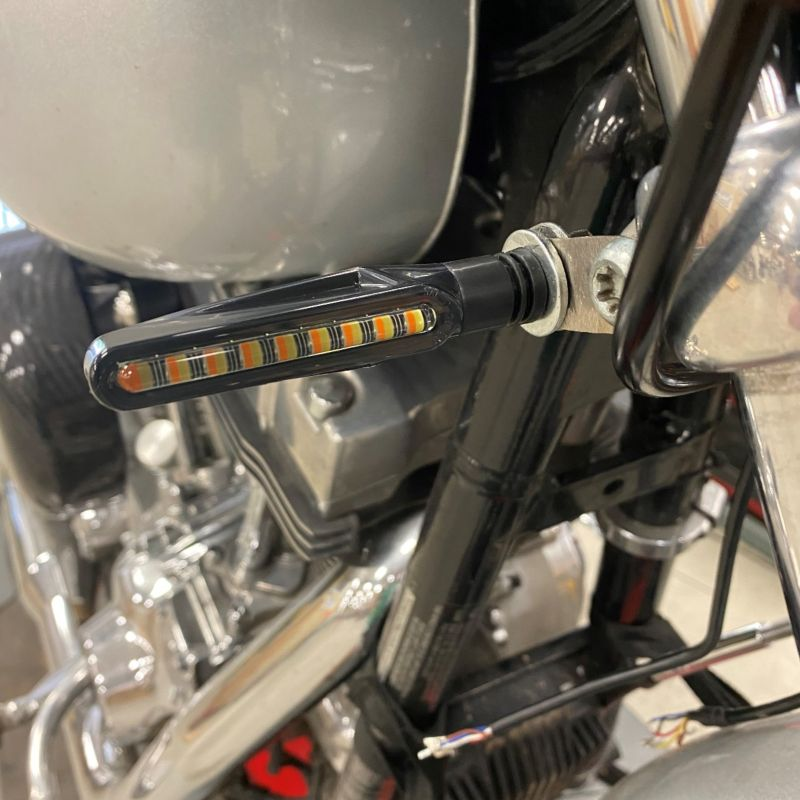 Amber/White Mini LED Motorcycle Front Turn Signals
