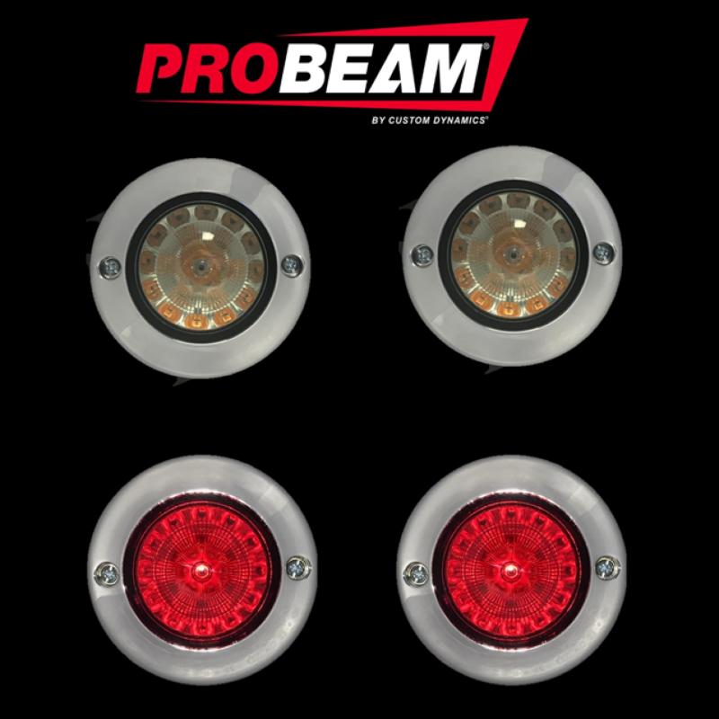 ProBeam® Flat Bezel Turn Signal Conversion Kit (1156 Rear, 1157 Front) For Harley-Davidson®