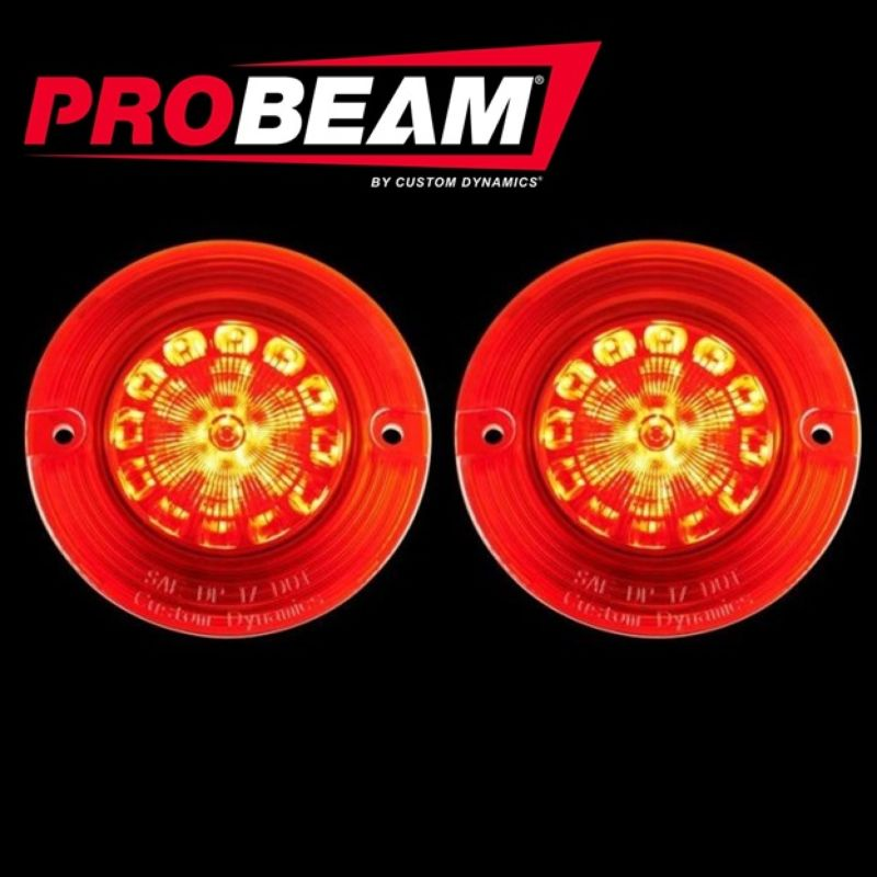 Flat ProBEAM® Solid Red 1156 Rear LED Inserts with Red Lenses