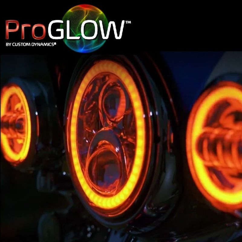 """ProGLOW™ 7"""" Color Changing Halo LED Headlight with Mounting Ring for 94-13 Harley-Davidson®"""