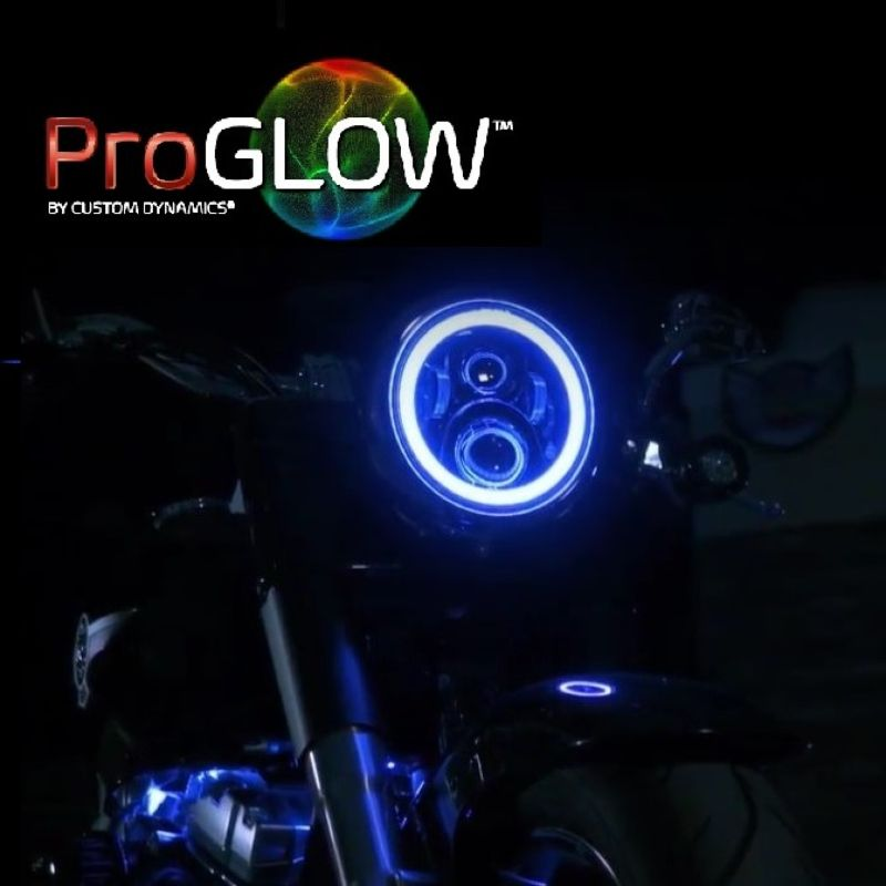"""ProGLOW™ 7"""" Motorcycle LED Headlight with Color Changing Halo for 14-21 Harley-Davidson®"""