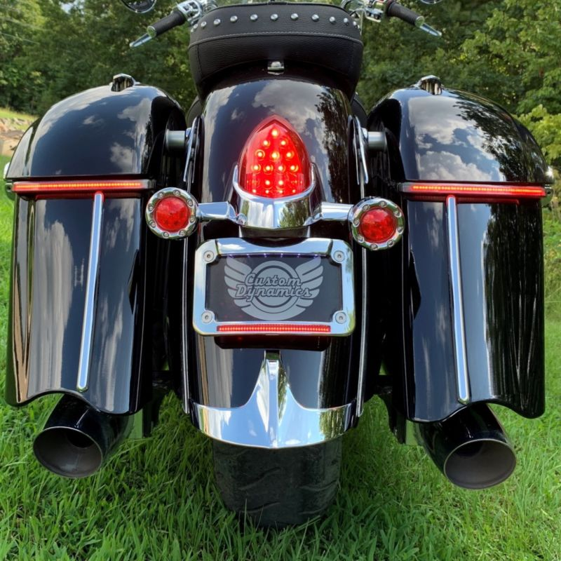 Low Profile Saddlebag Lights with Chrome Trim for Classic Style Indian® Saddlebags