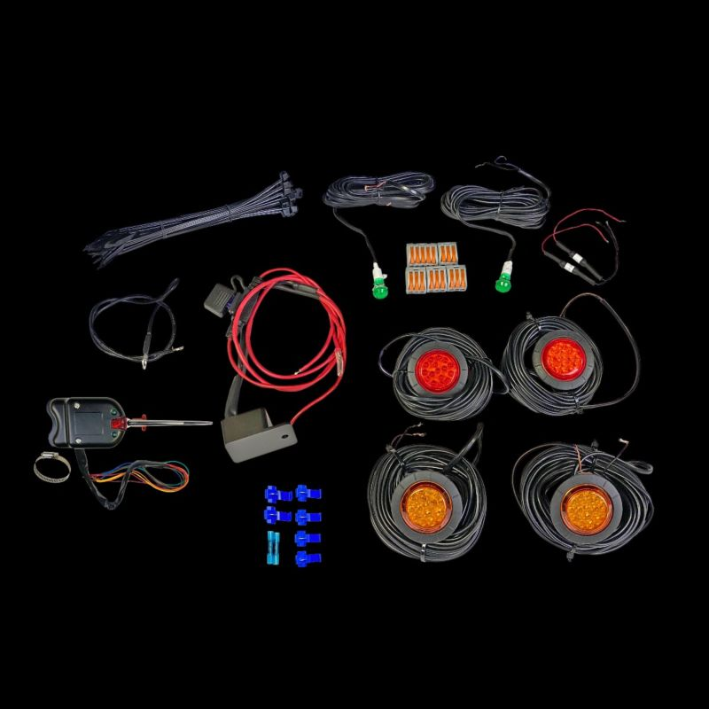 Amber Front & Red Rear UTV Turn Signal Kit with Steering Column Switch