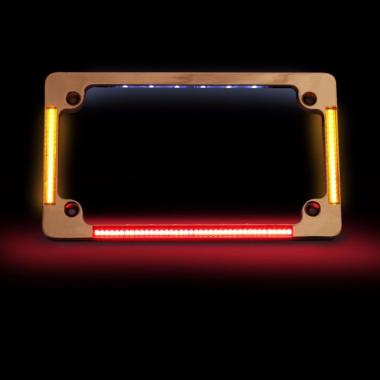 Motorcycle License Plate Frames with Brake & Turn LEDs
